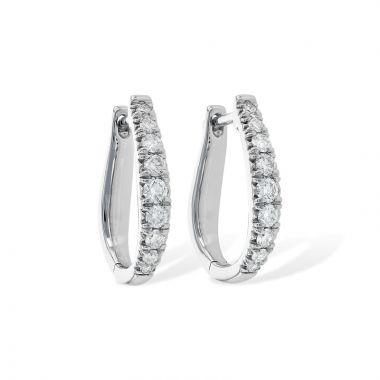Allison Kaufman 14k White Gold Diamond Hoop Earrings