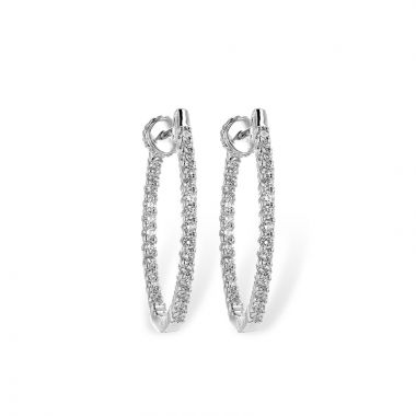Allison Kaufman 14k White Gold Diamond Hoop Earrings