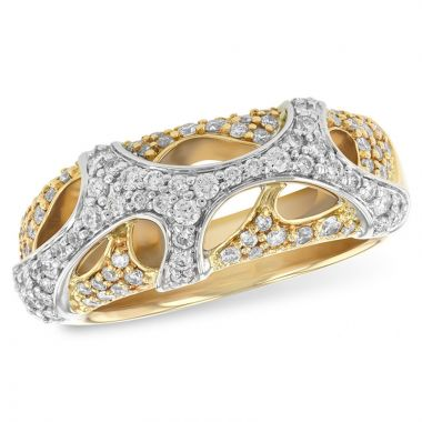 Allison Kaufman Two Tone 14k Gold Diamond Ring