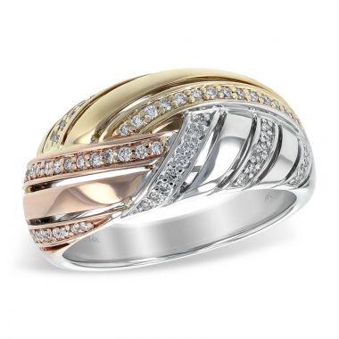 Allison Kaufman Tri Color 14k Gold Diamond Ring