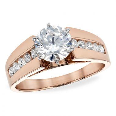 Allison Kaufman 14k Rose Gold Diamond Straight Semi-Mount Engagement Ring