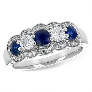 Allison Kaufman 14k White Gold Diamond & Gemstone Ring
