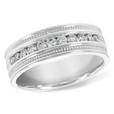 Allison Kaufman 14k White Gold Men's Wedding Band
