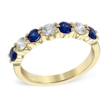 Allison Kaufman 14k Yellow Gold Diamond & Gemstone Wedding Band