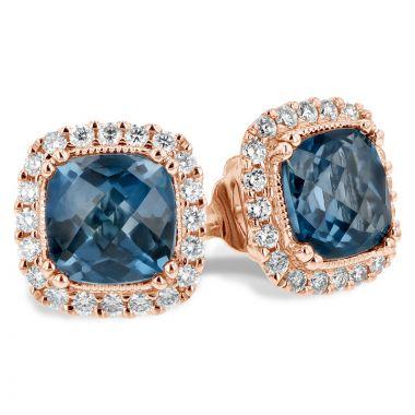 Allison Kaufman 14k Rose Gold Gemstone & Diamond Stud Earrings