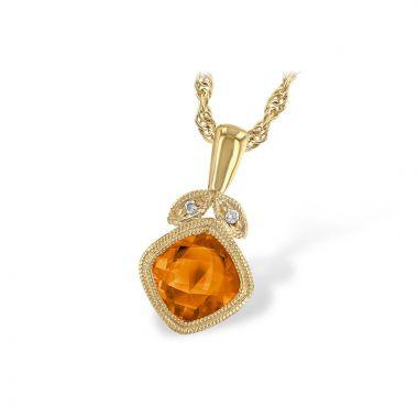 Allison Kaufman 14k Yellow Gold Gemstone & Diamond Necklace