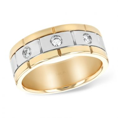 Allison Kaufman Two Tone 14k Gold Diamond Men's Wedding Band