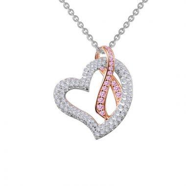 Lafonn Pink Ribbon Sterling Silver Simulated Diamond Necklace