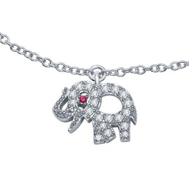 Sterling Silver Lassaire Simulated Diamond and Ruby Ankle Bracelet