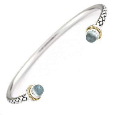 Andrea Candela 18k Yellow Gold and Sterling Silver Multimedia Gemstone Bangle Bracelet