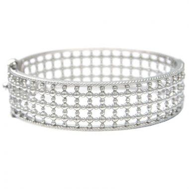Andrea Candela Sterling Silver Cava Gemstone Bangle Bracelet