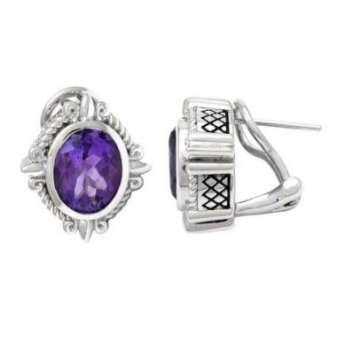 Andrea Candela Sterling Silver Fleur de Lis Gemstone Earrings