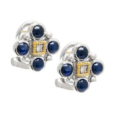 Andrea Candela 18k Yellow Gold and Sterling Silver Bizantino Diamond and Gemstone Earrings