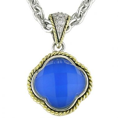 Andrea Candela 18k Yellow Gold and Sterling Silver Trebol Diamond and Gemstone Pendant