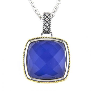 Andrea Candela 18k Yellow Gold and Sterling Silver Trebol Gemstone Pendant
