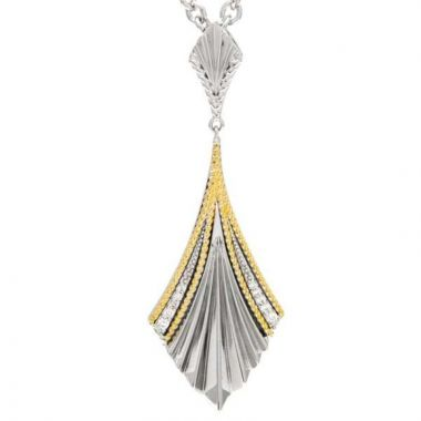 Andrea Candela 18k Yellow Gold and Sterling Silver Flamenco Diamond and Gemstone Pendant