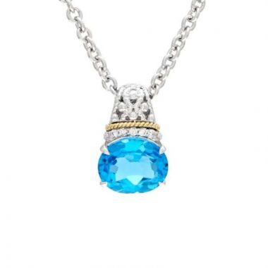 Andrea Candela 18k Yellow Gold and Sterling Silver La Corona Diamond and Gemstone Pendant